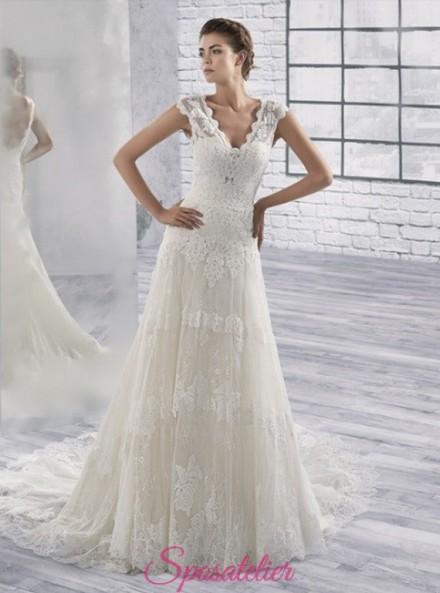 vestiti da sposa  ricamato in pizzo taglio A line economici online