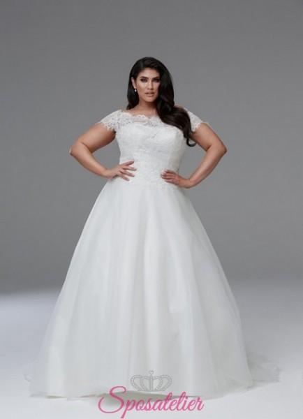 abiti per spose formose a mezze maniche shop online collezione 2018