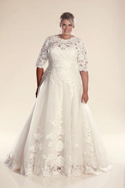abiti per spose formose con spalle coperte shop online collezione 2018