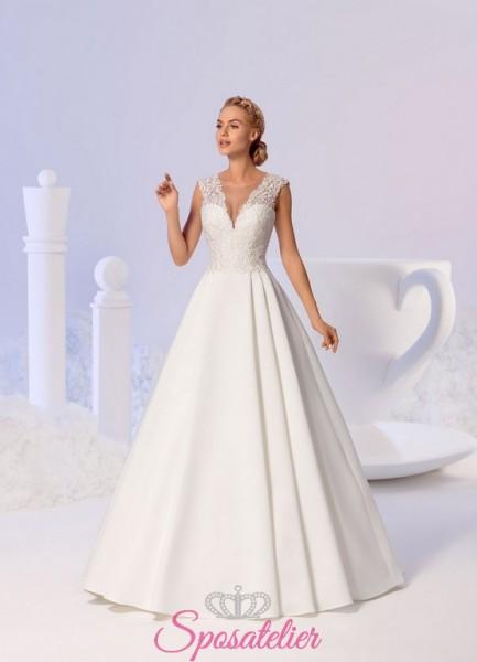 abiti da sposa da principessa 2018 con corpetto ricamato in pizzo