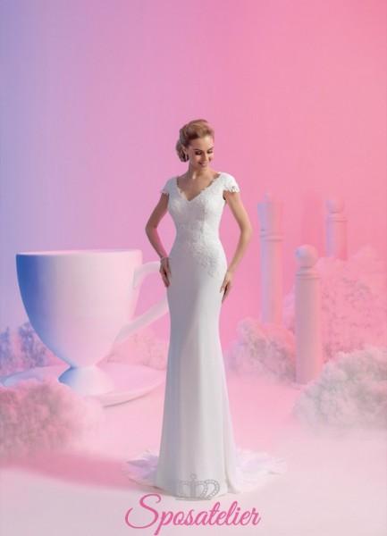 vestito da sposa  maniche corte ricamato in pizzo a sirena