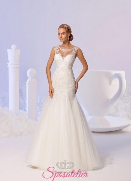 vestito da sposa mezza sirena meraviglioso con scollo velato