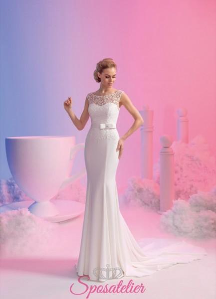 vestito da sposa modello sirena elegante con cintura