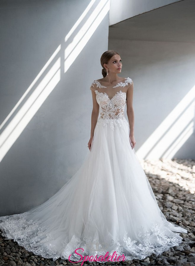 3588b9f6e394 abiti da sposa da principessa ricamato in pizzo e tulle nuovi modelli 2018  2019