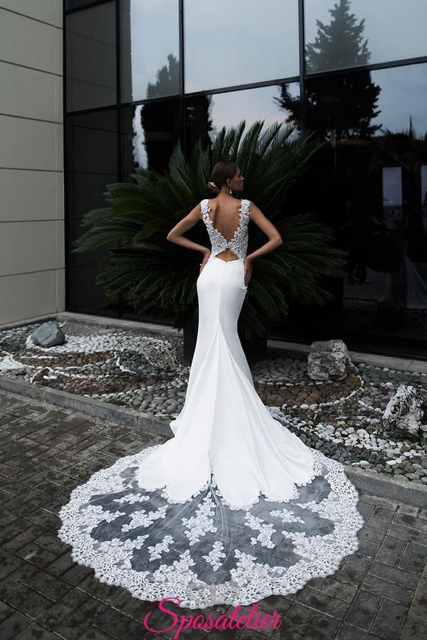 abiti da sposa a sirena con strascico lungo in pizzo ...