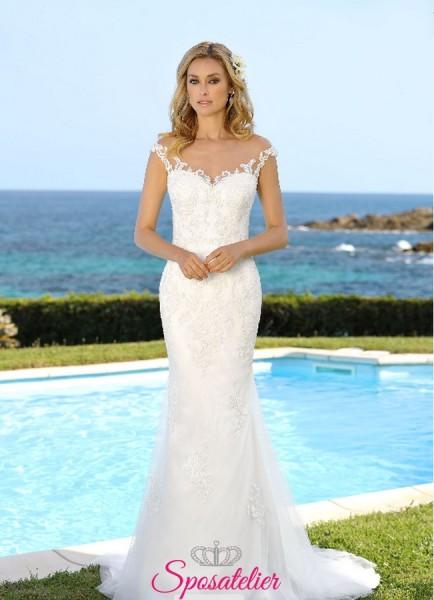 abiti sposa a sirena con schiena velata e ricami nuova collezione