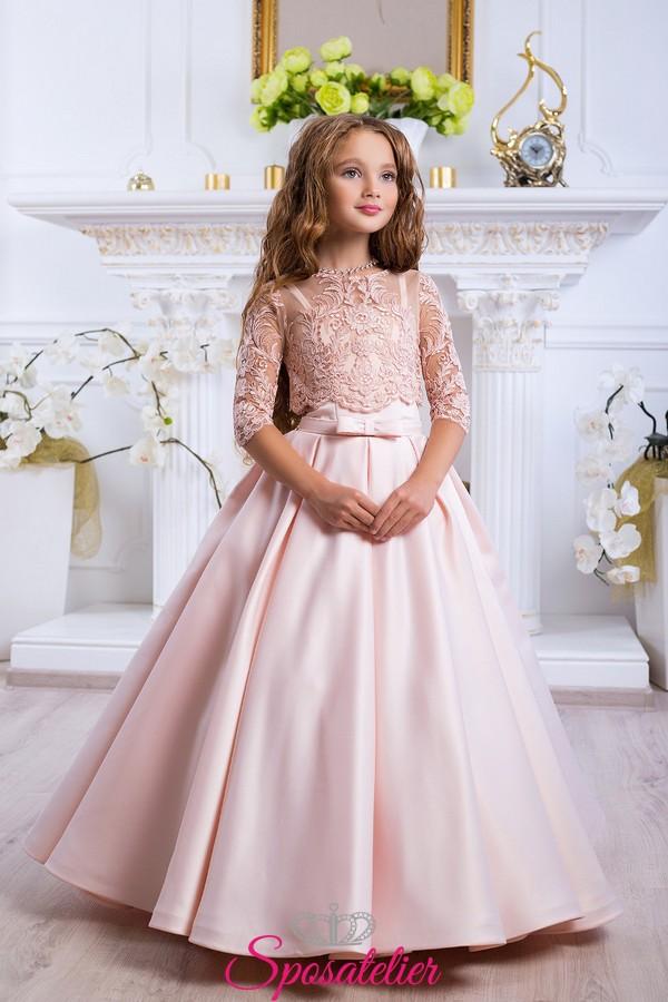bellissimo a colori super qualità design distintivo abiti comunione bambina 2018 colorati vendita online economici