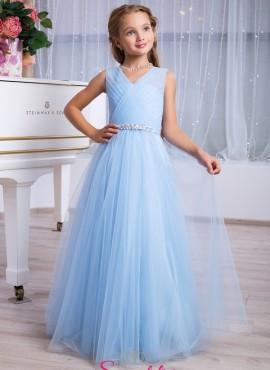 Celeste-abiti prima comunione per ricevimento bambina