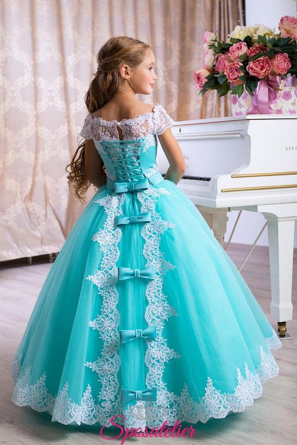 Vestiti Verde Tiffany Bambina.Abiti Prima Comunione Azzurro Con Fiocchi 2018