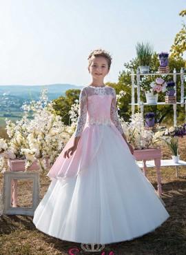 BYANKA – abiti prima comunione bambina rosa e bianco