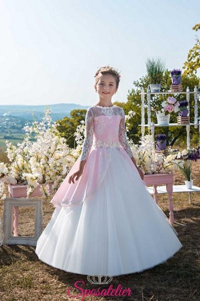 abiti prima comunione bambina 2018 rosa e bianco