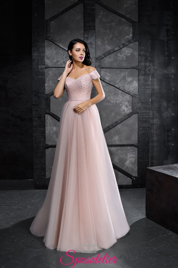 reputable site 7ced2 aaed7 abiti da cerimonia rosa cipria damigella d'onore adulta online economici