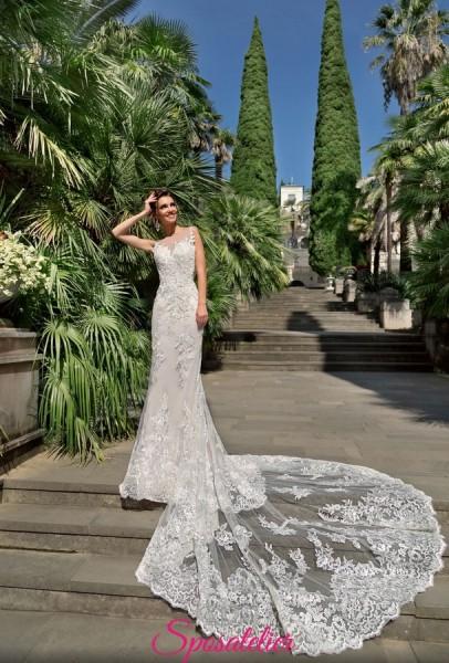 abiti da sposa a sirena in pizzo con strascico lungo 2019 nuova collezione