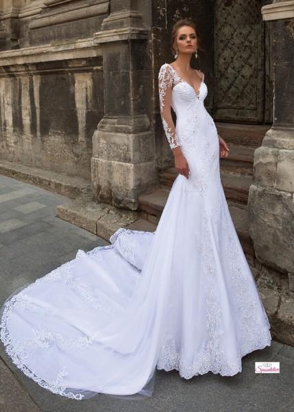 abiti da sposa a sirena in pizzo con maniche lunghe ricamate e strascico lungo