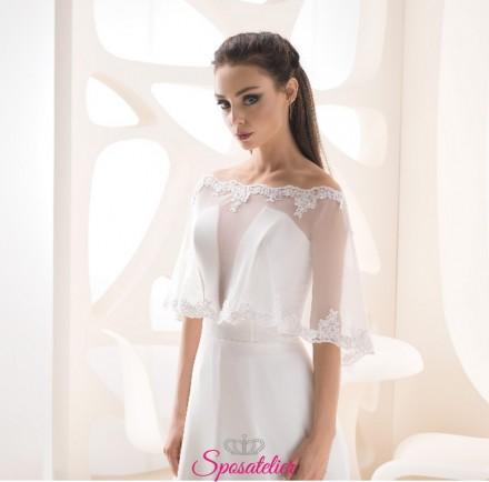 Mantellina elegante sposa in tulle e pizzo vendita online economico
