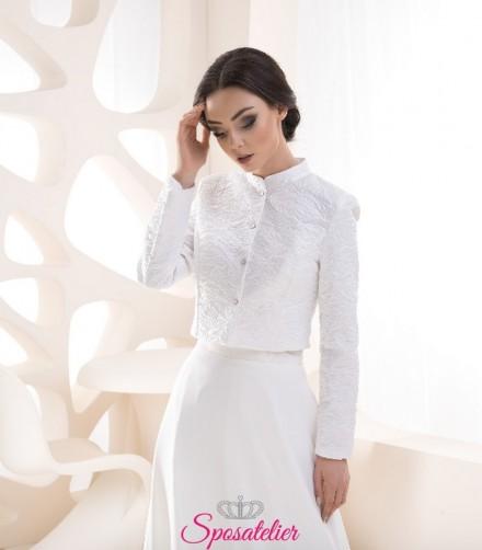 Giacca sposa autunnale con collo alla coreana vendita online
