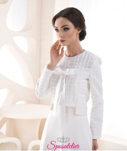 Giacca sposa elegante primavera con fiocco vendita online