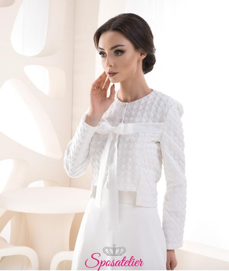 huge selection of 7fef0 08e9f Giacca sposa elegante primavera con fiocco vendita online