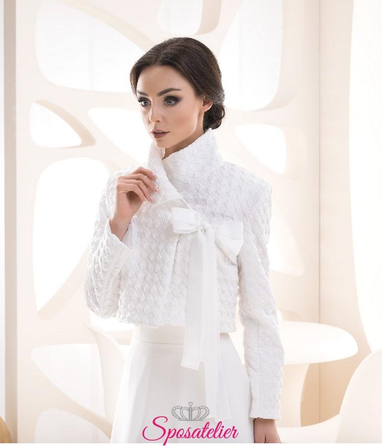 buy popular f96cf eb10e Giacca sposa primavera bianca o avorio vendita online collezione 2019