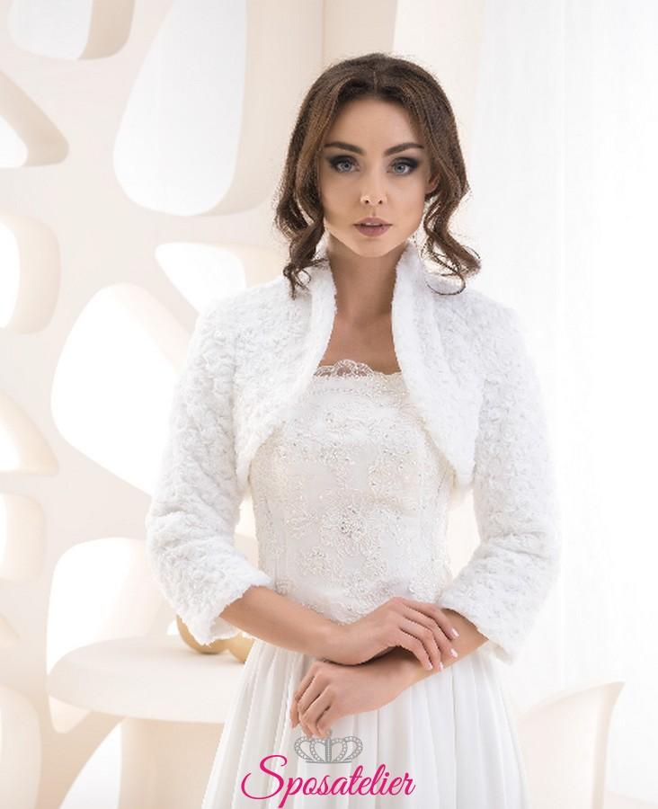 originale a caldo repliche selezione mondiale di Pelliccia ecologica sposa vendita online matrimonio invernale collezione  2019