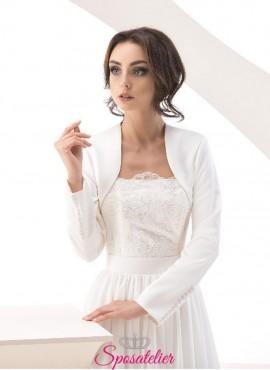 Coprispalle sposa in raso con bottoncini sui polsi vendita online