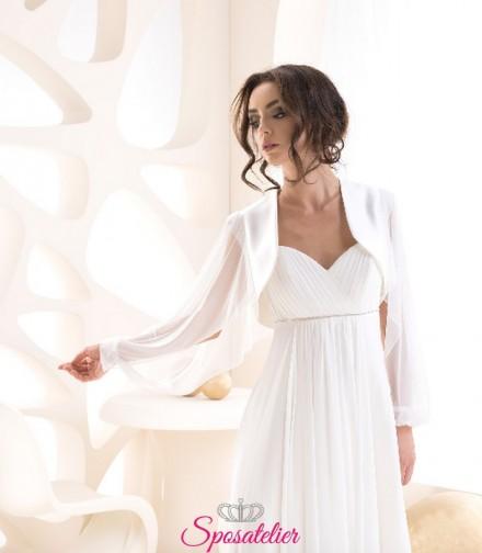 Coprispalle sposa in raso con maniche in chiffon vendita online