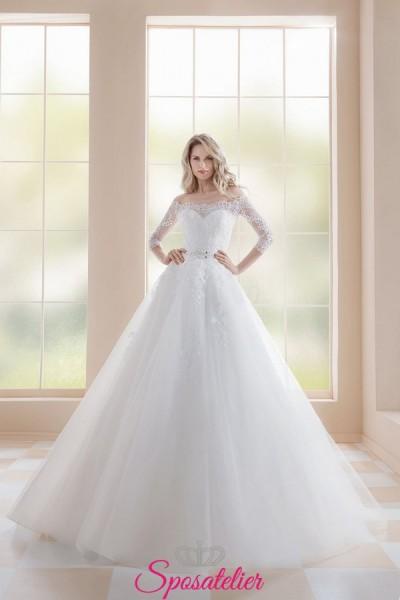 abiti da sposa 2019 da principessa con gonna di tulle corpetto ricamato