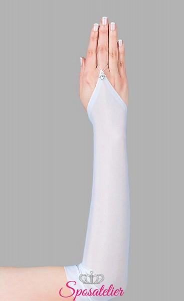 guanti sposa lunghi semplici in lycra senza dita online