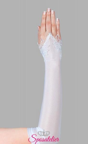 guanti sposa lunghi in lycra con ricami di pizzo senza dita