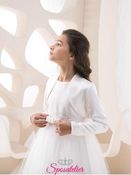 coprispalle bambina cerimonia in raso colore bianco o avorio