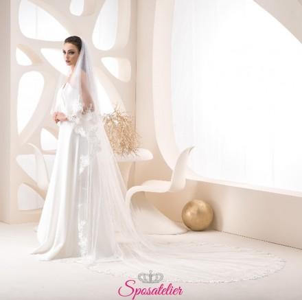 velo sposa on line in pizzo lungo colore avorio 250 cm