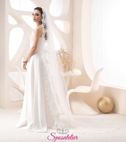 velo sposa on line avorio lungo 250 cm con orlo in pizzo
