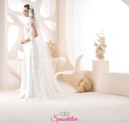 velo sposa on line color avorio lungo 3 metri e mezzo
