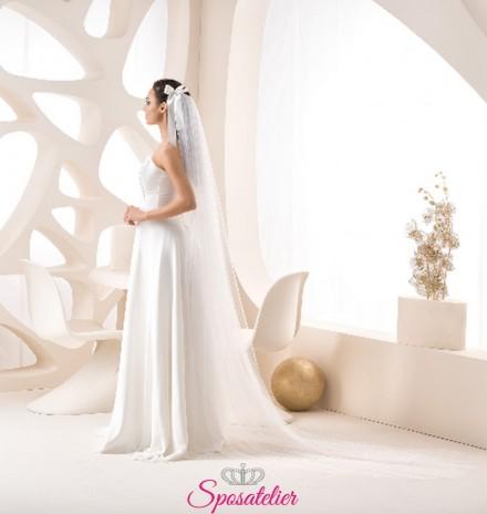 velo sposa on line di tulle semplice con fiocco lungo 250 cm