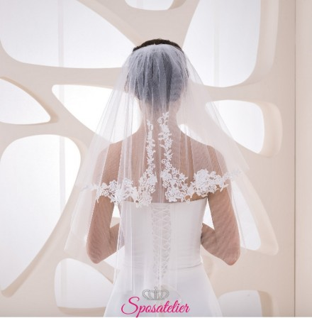 velo sposa online color avorio corto con ricami in pizzo