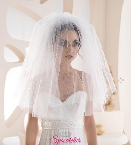 velo sposa in tulle corto con calata sul viso