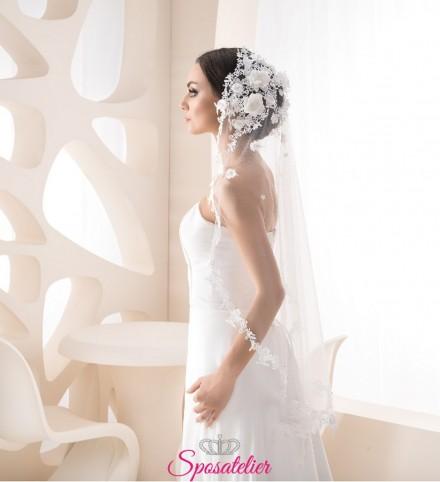 velo sposa online particolare con ricami in pizzo e fiori