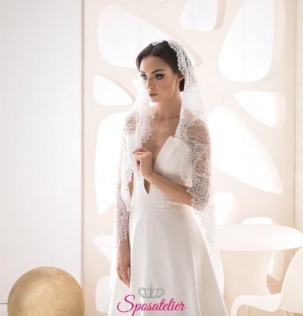 velo sposa online con pizzo particolare elegante sartoriale