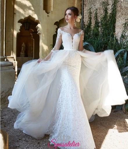 abito da sposa 2019 a sirena con gonna staccabile online economico