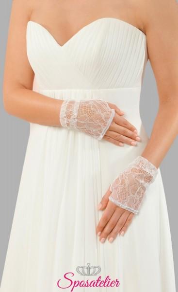 guanti sposa in pizzo color avorio online economici