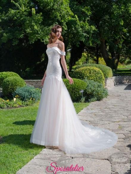 abiti da sposa a sirena con scollo a barchetta di tendenza 2019
