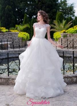 abiti da sposa con balze modello principessa con gonna vaporosa