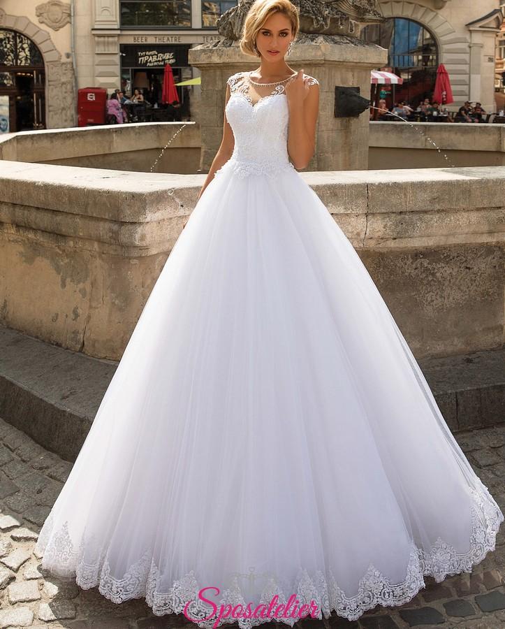 405b7cafbce5 abiti da sposa online da principessa con strascico e ricami di pizzo collezione  2019