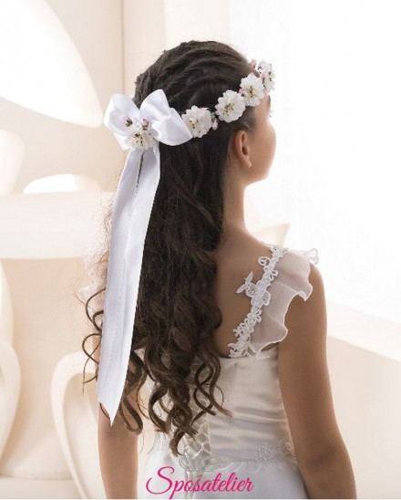 coroncine per capelli prima comunione vendita online con fiori e fiocco