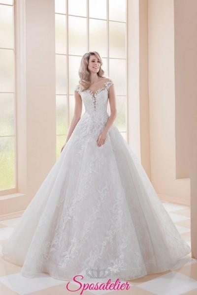 abiti da sposa 2019 in pizzo sartoriale ricamato a mano online da principessa