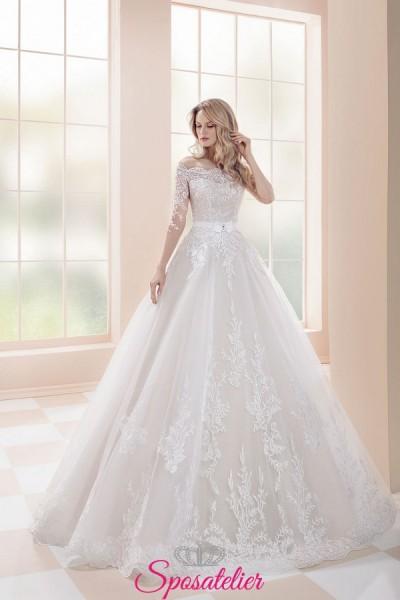 abiti da sposa fiabesco da principessa 2019 con corpetto ricamato e maniche lunghe