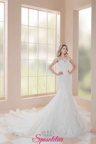 abito da sposa a sirena in pizzo con coda lunga collezione 2019