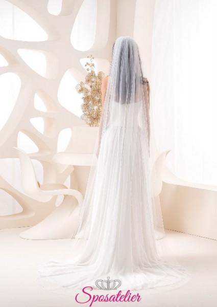 velo sposa on line con 750  cristalli bianco opale lungo 250 cm