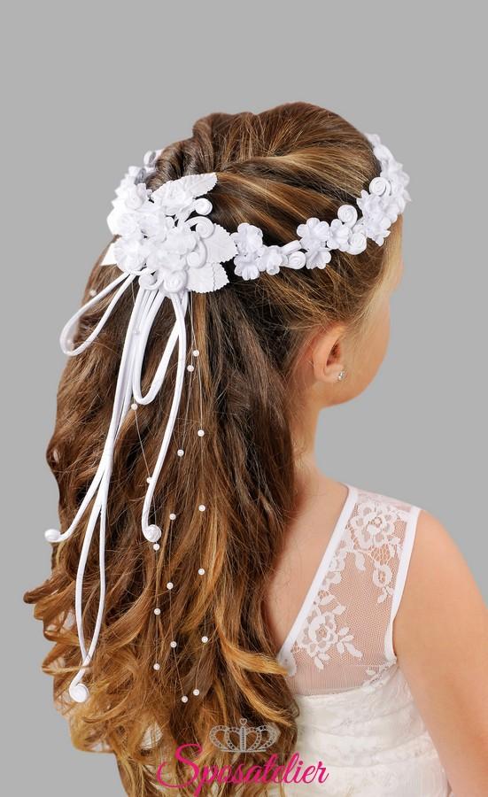 coroncine per acconciatura capelli prima comunione vendita online con fiocco a9cc3e58de62