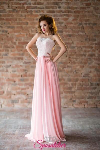 abiti da damigella rosa economici colorati online